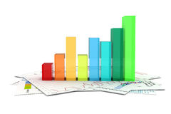 3d business graph and documents Royalty Free Stock Photos