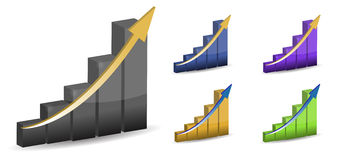 3d business graphs. Different colors 3d business graphs isolated over a white background Royalty Free Stock Image