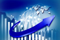 3d business graphs. In abstract background Royalty Free Stock Photo