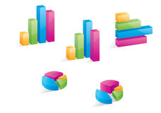 3D Business Graphs. A set of 3D business graphs and pie charts Stock Photos