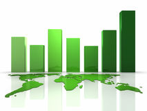 3D Business Green Chart. Green business graph with continents, 3d render Stock Image