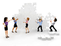 3D business group assembling a puzzle Royalty Free Stock Images