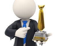 3d business man awarded with gold tie trophy. 3d rendered business man just got awarded and holding a gold tie trophy in his hands - business awards concept Royalty Free Stock Photos