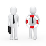 3d business man briefcase and lifebelt. 3d business men with briefcase and lifebelt Stock Image