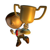 3d business man character holding a trophy. 3d render business man character holding a trophy or award or prize Royalty Free Stock Images