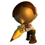 3d business man character with pencil Royalty Free Stock Images