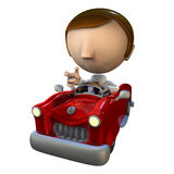 3d business man character in a red car. 3d business man character driving in a red car Royalty Free Stock Images