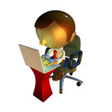 3d business man character sitting with laptop. 3d business man character sitting in office chair with laptop at desk Stock Photos