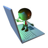 3d business man character standing on laptop. 3d business man character standing on oversized or large laptop or keyboard Stock Photography