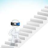 3d Business Man climbing Stair Royalty Free Stock Photos