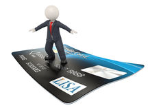3d business man on credit card. 3d rendered business man surfing on a blue credit card - Online shopping with credit cards concept - Isolated Stock Image