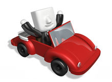 3d business man driving in the red convertible Stock Photography