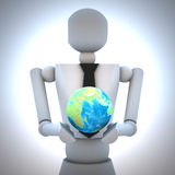 3d business man with earth globe in his hand. Illustration Royalty Free Stock Image