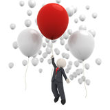 3d business man flying with balloons. 3d rendered business man flying with a red balloon among many white ones - isolated Stock Images