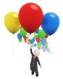 3d business man flying with colorful balloons. 3d rendered business man flying high with a red balloon Royalty Free Stock Photography