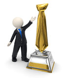 3d business man and gold tie trophy award icon. 3d rendered business man showing a gold tie shaped trophy award Royalty Free Stock Photos
