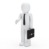 3d business man handshake. 3d business man with briefcase give handshake Stock Photography