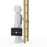 3d business man hold ladder. 3d business briefcase man hold a ladder Royalty Free Stock Image