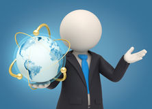3d business man holding an atomic earth globe. 3d rendered business man holding an earth globe in his hand surrounded by gold atomic powers Stock Images