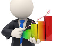 3d business man holding a financial graph. 3d rendered business man close-up holding a colorful financial graph and pointing to it Royalty Free Stock Photo