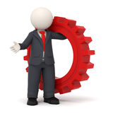 3d business man holding a red gear. 3d business man holding a big red gear in his hand - Business solution concept Stock Image