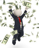 3d business man jumping for victory - money rain. 3d rendered happy business man jumping for joy and victory in money rain Stock Photos