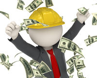 3d business man jumping for victory - money rain. 3d rendered construction worker jumping for joy among money rain Stock Image