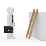 3d business man before ladder. 3d business man with briefcase before ladder Stock Photos