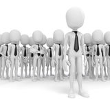3d business man leader. 3d business man leading a crowd Royalty Free Stock Photos