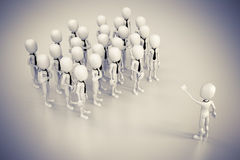 3d business man leader. 3d business man leading a crowd Royalty Free Stock Photo