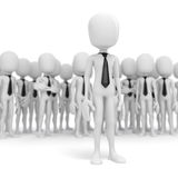 3d business man leader. 3d business man leading a crowd Royalty Free Stock Image