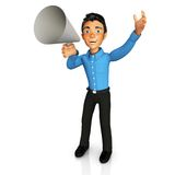 3D business man with megaphone Stock Photography