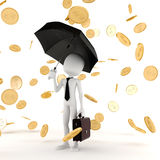 3d business man in the money rain Stock Photo
