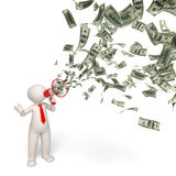 3d business man motivaton - money announcement. 3d rendered business man speaking through a money megaphone - business motivation concept Stock Photo