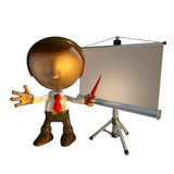 3d business man with presentation equipment. 3d business man character standing with presentation equipment or screen Royalty Free Stock Image