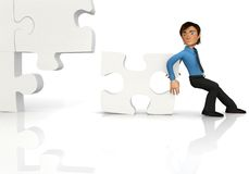 3D business man - puzzle assembling Stock Photography
