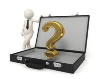 3d business man - Question mark. 3d business man standing near a gold Question mark in briefcase Stock Photos