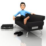 3D business man relaxing Royalty Free Stock Image