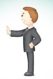 3d Business Man showing stop. Illustration of confident 3d business man in  standing showing stop gesture Royalty Free Stock Photos