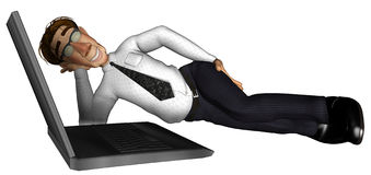 3d business man sleeping near laptop cartoon. 3d business man on laptop cartoon thinking Stock Photo