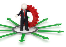 3d business man with solutions. 3d rendered business man in black suit, standing with a red gear in his hand, surrounded by green arrows representing the way for Royalty Free Stock Photo