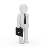 3d business man standing. 3d business man with tie and briefcase Stock Image