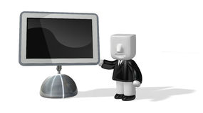 3d business man standing next to big screen Stock Photo
