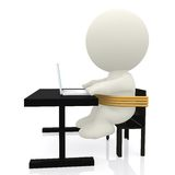 3D Business man tied to chair Royalty Free Stock Photo