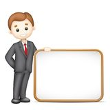 3d Business Man in Vector with Blank Board. Illustration of 3d business man in vector with blank board Stock Image