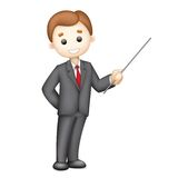 3d Business man in Vector giving Presentation. Illustration of 3d business man in vector giving presentation Stock Images
