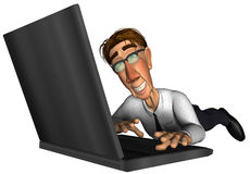 3d business man working on laptop cartoon. 3d business man on laptop cartoon thinking Stock Image