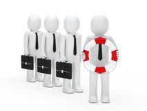 3d business men briefcase and lifebelt. 3d business men with briefcase and lifebelt Royalty Free Stock Photo