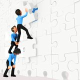 3D business men - puzzle assembling Royalty Free Stock Image