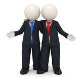 3d business partners. 3d rendered business partners in black uniform embracing each other - Image on white background with soft shadows Stock Image